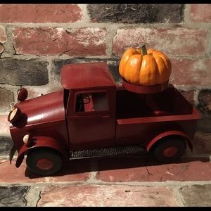 New Antique Looking Tin Metal Red Truck Decor